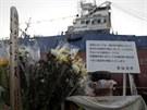 Část obyvatel města Kesennuma chtěla rybářskou loď těžkou 330 tun zachovat jako...