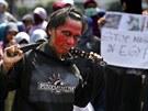 Proti násilí v Egyptě protestovali muslimové v Jakartě v Indonésii.