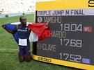 Teddy Tamgho se chlubí svým výkonem, 18,04 metrů je třetí nejlepší trojskokanský počin všeh dob.