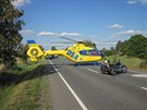 Nehoda motocyklisty u Čestic na Rychnovsku (15.8.2013).