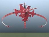 """Schéma prvku nazvaného """"Crossover Brake"""", který předvádí letecká akrobatická"""