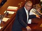 Miroslav Kalousek (TOP 09) při jednají o rozpuštění Sněmovny (20. srpna 2013)