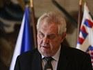 Prezident Zeman na tiskové konferenci po setkání s lídry parlamentních stran...