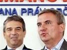 Vratislav Mynář (vpravo) a Zdeněk Štengl při tiskové konferenci SPOZ. (29.