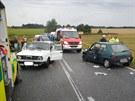 Nehoda dvou automobilů mezi Štěpánovicemi a Lišovem na Českobudějovicku.