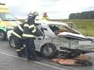 Nehoda dvou automobilů mezi Štěpánovicemi a Lišovem na Českobudějovicku....