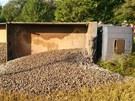Plně naložená nákladní souparava MAN také skončila mimo silnici. (23. srpna