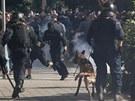 Střety v ulicích Ostravy trvaly asi dvě hodiny. (24. srpna 2013)