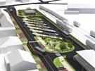 Vizualizace stavby nového terminálu v Novém Bydžově.