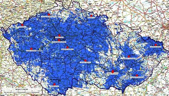Mapa pokrytí území pozemní sítí 1a
