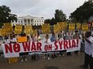Lidé protestovali proti invazi do Sýrie i před Bílým domem ve Washingtonu. (30. srpna 2013)