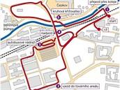 Mapa městské rychlostní zkoušky na Barum Czech Rally Zlín.