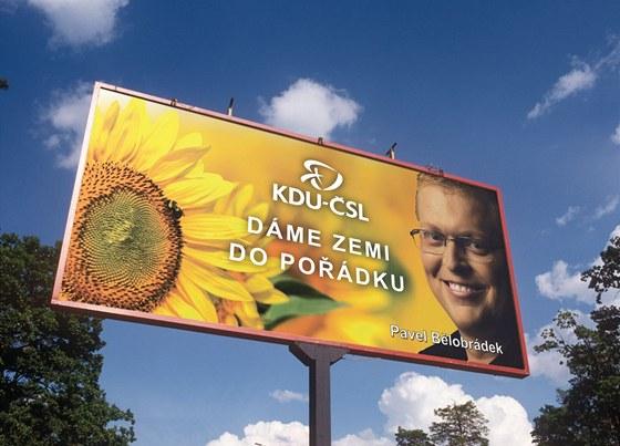 Předvolební billboard KDU-ČSL s předsedou Pavlem Bělobrádkem.