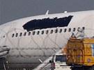 Airbus aerolinek Thai Airlines po nehodě na letišti v Bangkoku (9. září 2013)