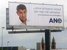Předvolební billboard politického hnutí ANO v Praze na Smíchově. (2. září 2013)