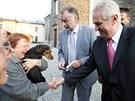 I na Svatém Hostýně se objevilo několik fanoušků Miloše Zemana.