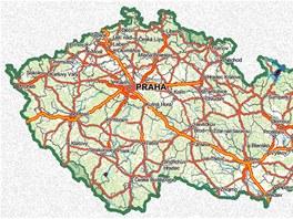 Mapa pokrytí signálem regionální sítě 10