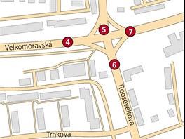 Přehled uzavírek na křižovatce ulic Velkomoravská a Rooseveltova: 5. Zúžení...