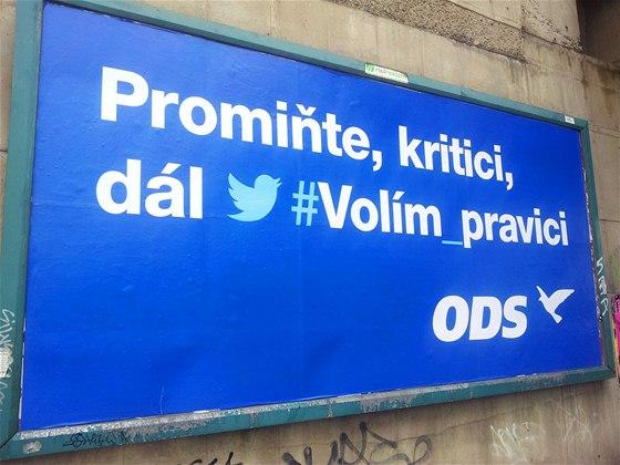 Nov� podoba p�edvolebn�ho billboardu ODS (19. z��� 2013)