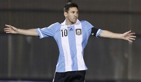 Lionel Messi z Argentiny slaví gól