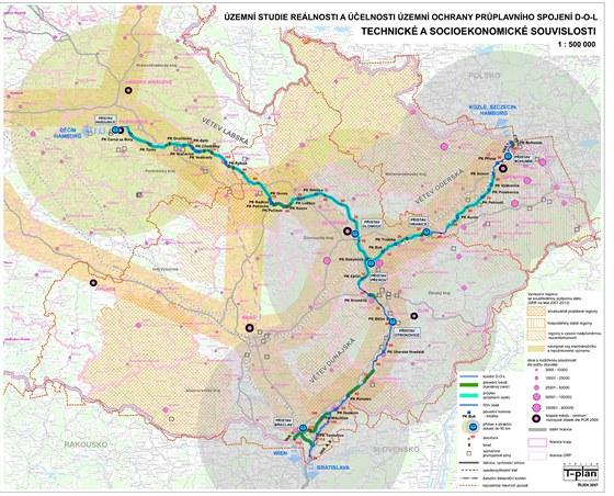 Kanál Dunaj - Odra - Labe. Mapa, kudy by měl kanál vést).