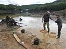 Archeologický průzkum na dně vypuštěné přehrady Mohelno (12. září 2013)
