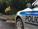 Sanitka se po nárazu u Vrchotových Janovic ocitla zcela mimo vozovku (16.9.2013)