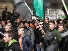 Protestující havíři uvnitř bývalého ředitelství OKD na Prokešově náměstí v