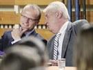 Prezident Milo� Zeman rozmlouv� s hejtmanem Martinem Netolick�m p�i n�v�t�v�...