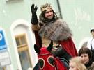 Průvod vedl český král a markrabě moravský Jan Lucemburský s družinou