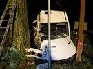 Řidič s dodávkou sjel ze silnice a narazil do stromu.