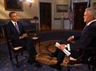 Americký prezident Barack Obama se v rozhovoru s moderátorem CBS Scottem Pelleym v Modré pracovně Bílého domu snaží přesvědčit veřejnost o nutnosti zásahu v Sýrii.