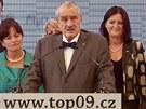 Předseda TOP 09 Karel Schwarzenberg představuje předvolební program TOP 09.