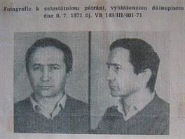 Policejní pátrání vyhlášené po Karlu Bočkovi v roce 1971.