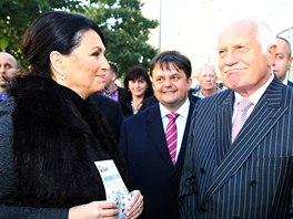 Exprezident Václav Klaus přišel podpořit volební blok Hlavu vzhůru Jany