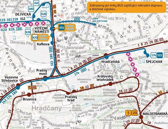 Schéma tramvajové výluky na Praze 6 (28.9.-24.10.2013)