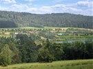 Možná podoba krajiny Nových Heřminov po vzniku plánované přehrady.
