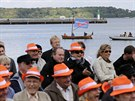 Výstupu Merkelové přihlíželi i přívrženci strany AfD (21. září)