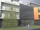 Vizualizace vstupu do nové budovy Národního ústavu duševního zdraví.