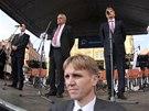 Na mítink Miloše Zemana se přišly do centra Brna podívat desítky lidí.