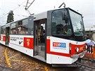 Speciální tramvajová linka TOP 09, kterou strana odstartovala kampaň.