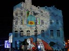 Videomapping na olomouckém Dolním náměstí.