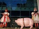 Divadelníci z Husy na plácku před muzeem hráli Havlovu jednoaktovku Prase.