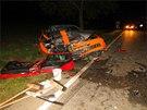 Nehoda se stala v kopci za obcí Tučapy na silnici 430 ve směru na Vyškov (21.