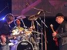 Petr Janda, baskytarista Milan Broum a bubeník Martin Vajgl s kapelou při...