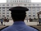 Policejní kontrola před soudem v neděli 22. září, kdy tribunál vynášel rozsudek