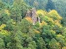 Pohled na Zbořený Kostelec od západu z červené turistické značky