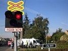 Dodávka se v Křenovicích střetla na železničním přejezdu s projíždějícím vlakem.