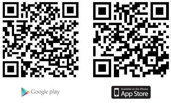 QR kód s adresou pro stažení aplikace na Google Play a App Store