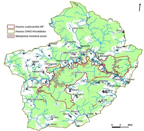 Mapa, na níž je vidět hranice uvažovaného Národního parku Křivoklátsko.